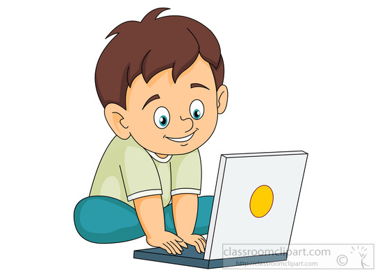 Boy clipart computer Results little Search operating smiling