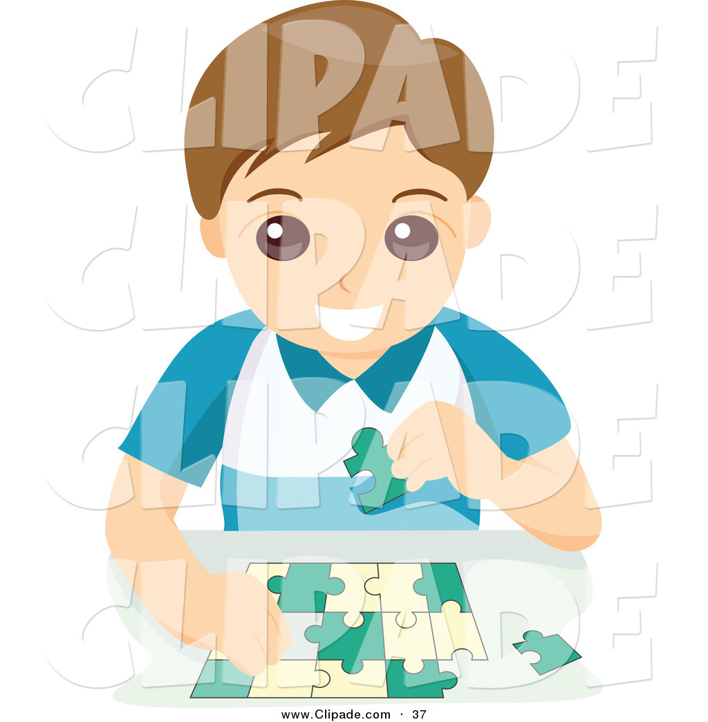Little Boy clipart puzzled On of Assembling a Little