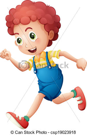 Little Boy clipart run Boy illustration A  curly