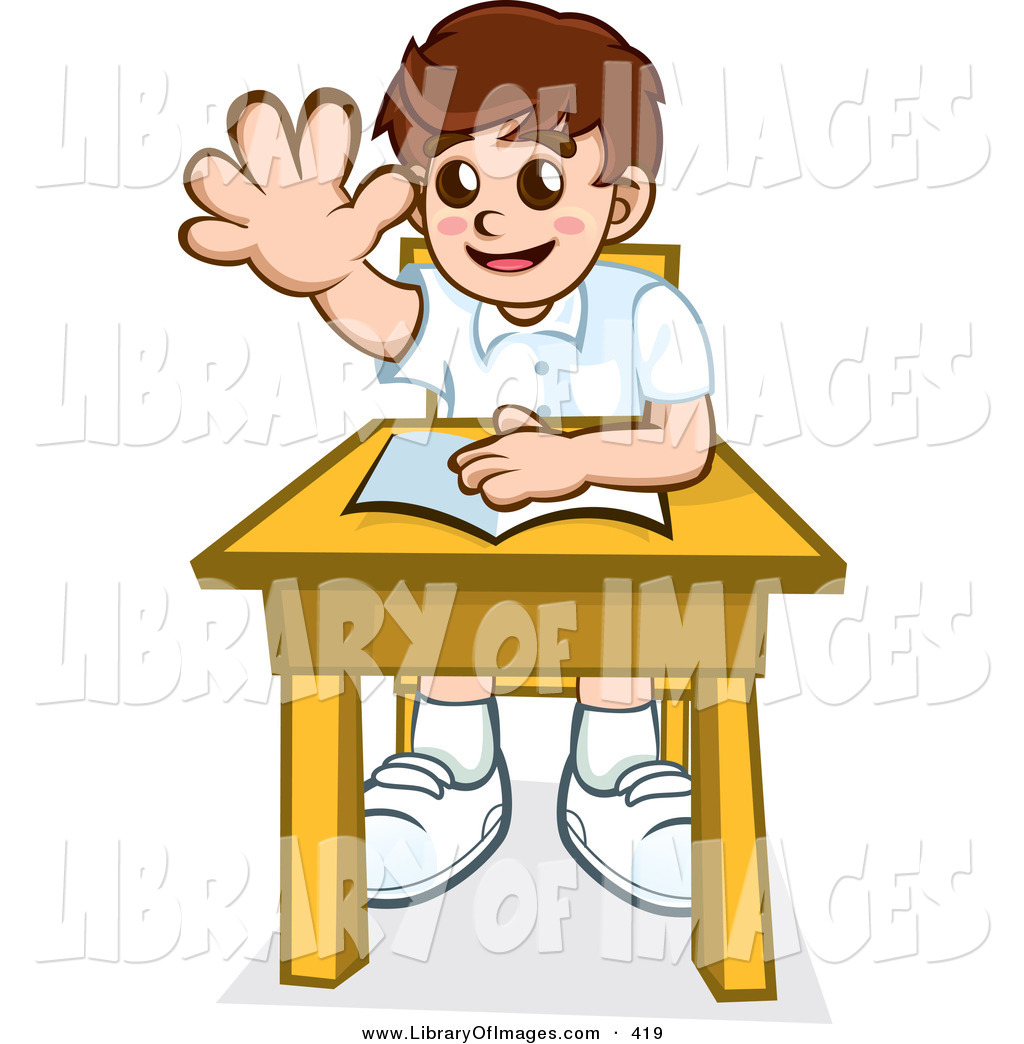 Little Boy clipart school boy Desk Book and with Ask
