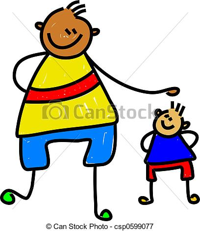 Small clipart big little Tall big art kid boy