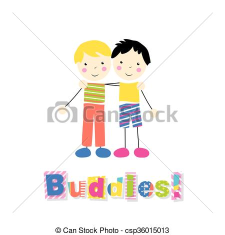 Little Boy clipart two boy Art hugging of  hugging