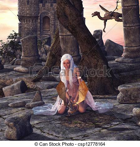 Little Dragon clipart dragon castle Beautiful fantasy Dragon with A