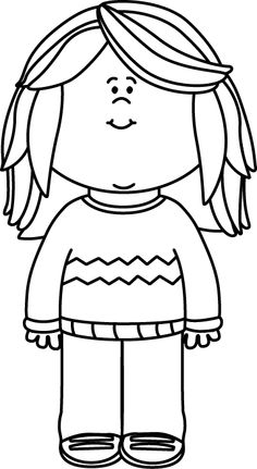 Child clipart black and white Black a White  and
