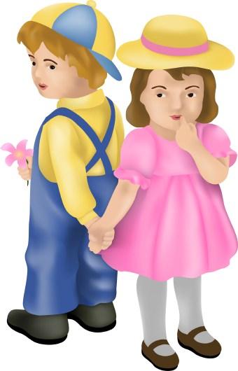 Pink Dress clipart shy child #1
