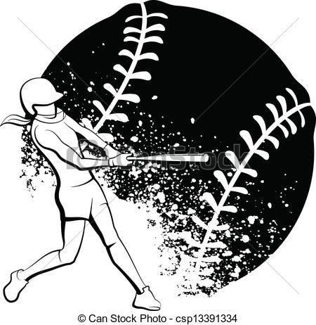 Black clipart softball Illustrations Batter and  Softball