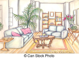 Living Room clipart study room Lenm6/841; room Stock Illustrations furniture