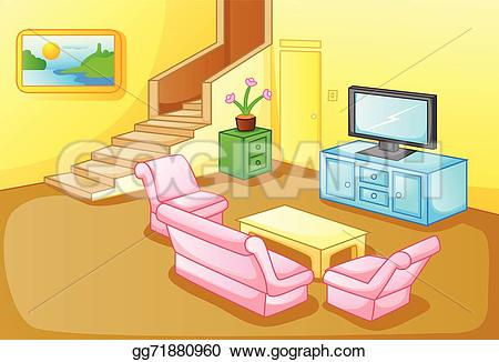 Living Room clipart animated Clipart Vector Illustration of house