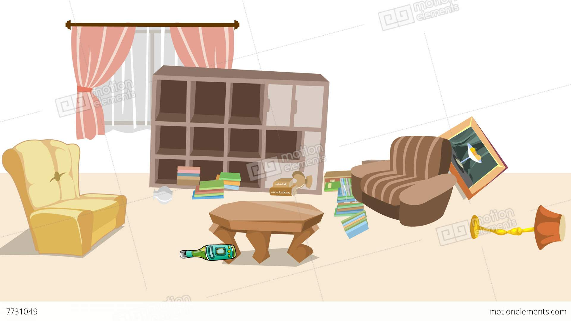 Living Room clipart animated Earthquake Room Room Stock Free