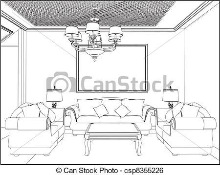Bedroom clipart line drawing Living Vector Clip  csp8355226