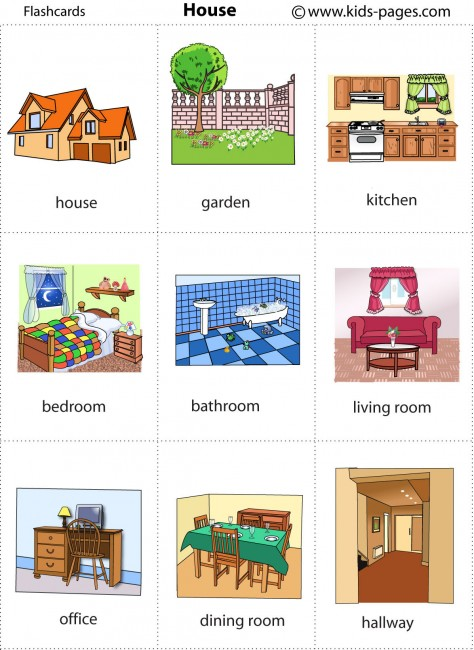 Living Room clipart drawing room Jobs Household Flash Cards Design