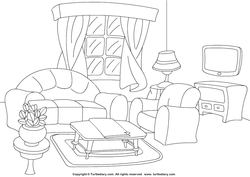 Living Room clipart coloring page Page Coloring Room Living Sheet