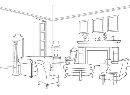 Living Room clipart coloring page Interior  Fruit Room paint
