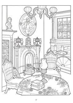 Living Room clipart coloring page House  in Victorian Pinterest