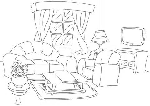 Living Room clipart coloring page Pictures Colouring Of (12) Garden