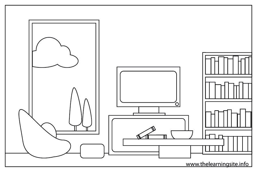 Living Room clipart coloring page Items Carameloffers Living Coloring Room