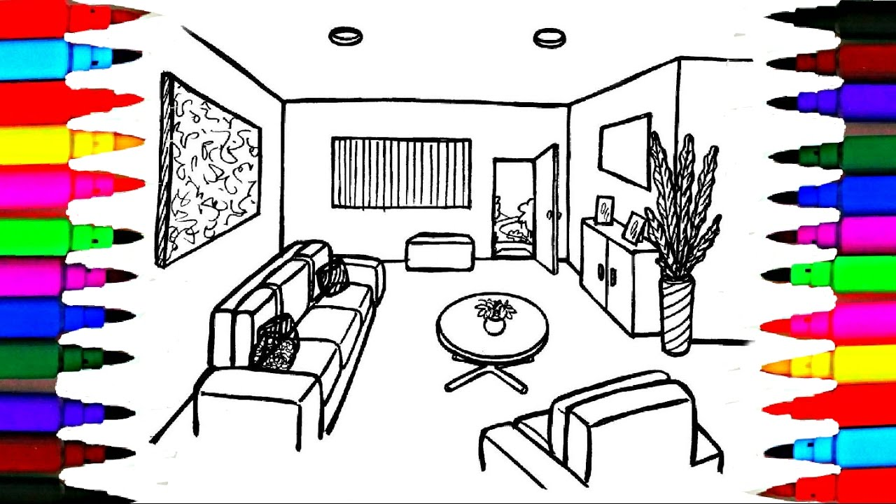 Living Room clipart coloring page Pages Pages Room Drawing Coloring