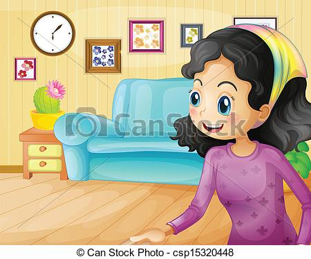 Living Room clipart drawing room Vector of A of mother