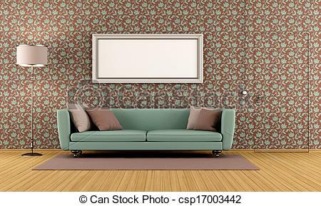 Living Room clipart drawing room With wallpaper with Stock living