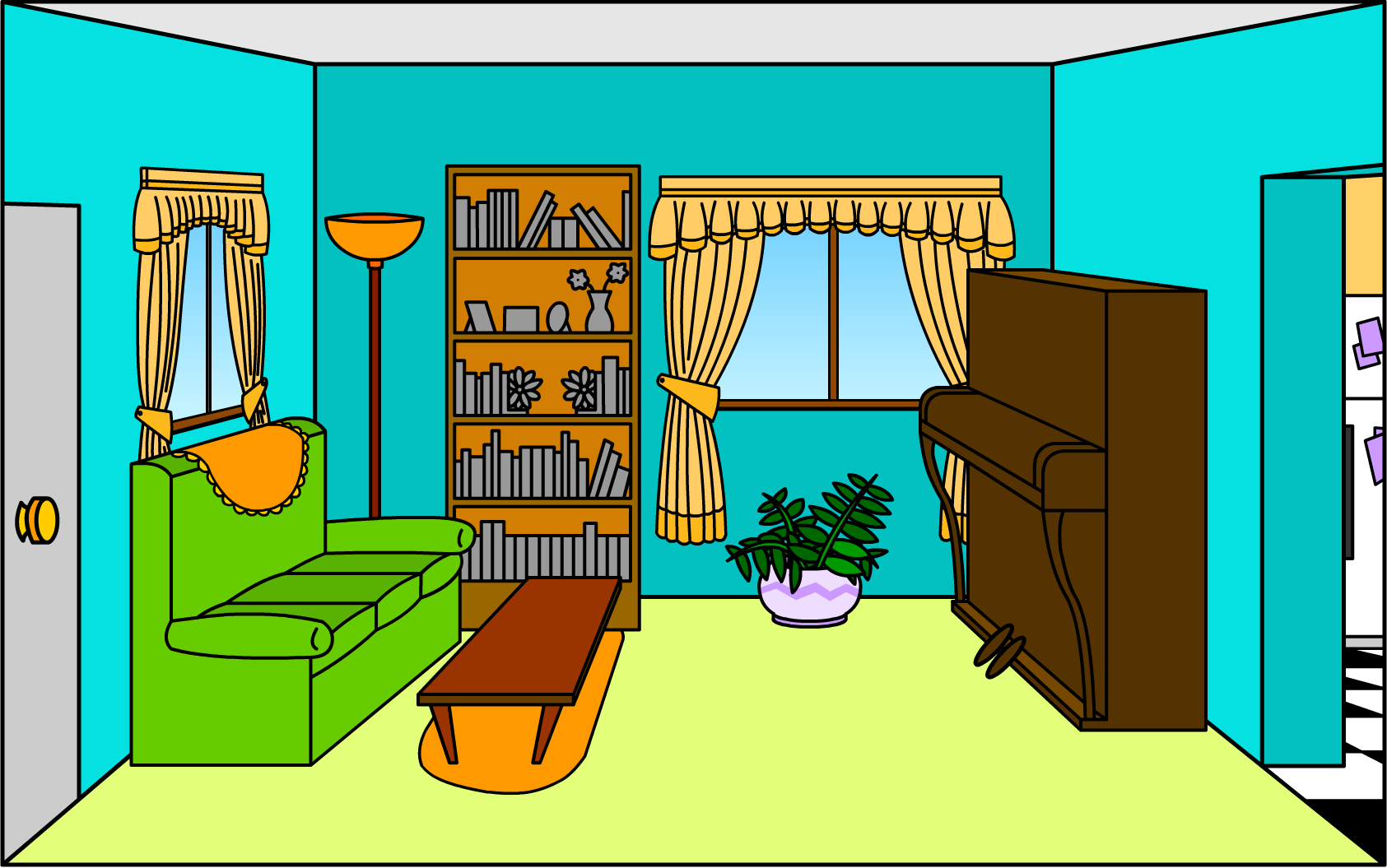 Bedroom clipart tv room Will for room Clipart flashcards