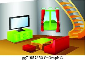 Living Room clipart illustration A house Clipart of Interior