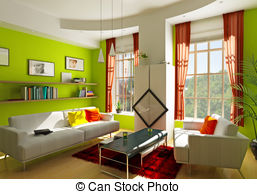 Living Room clipart illustration Illuminated by room spacious room