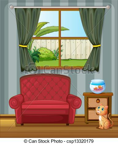 Living Room clipart inside house Fish looking of Illustration house