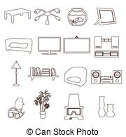 Living Room clipart outline Clip outline outline set computer