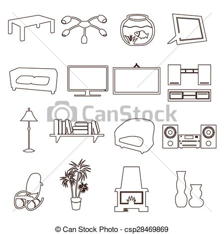 Living Room clipart outline Clip outline outline set living