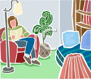 Living Room clipart sitting room Free Reading In Woman Clipart