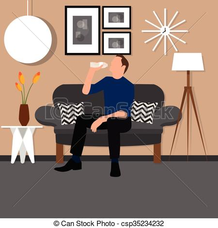 Living Room clipart sofa chair Man man room sitting sitting