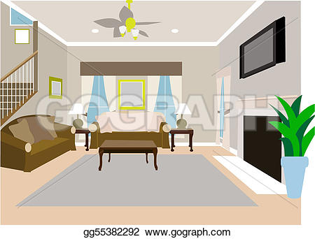 Living Room clipart standard living Illustration room house Angled two