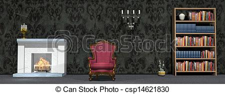Living Room clipart study room 3D csp14621830 study room Drawings