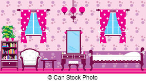 Living Room clipart illustration And a and free bed