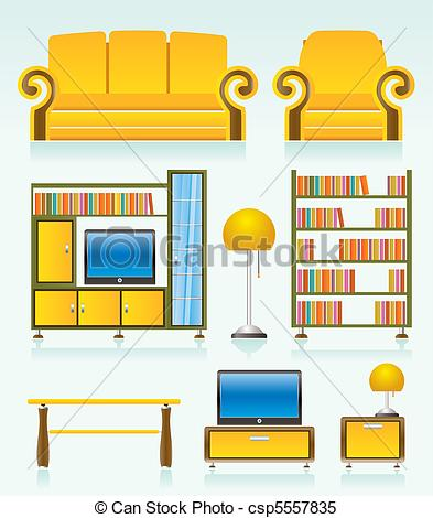 Living Room clipart vector Objects room living room room