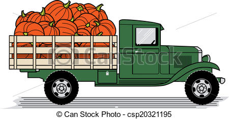 Loading clipart loaded truck Vintage A style Pumpkin