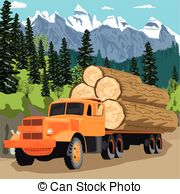 Loading clipart log truck Timber Art trees Clip in