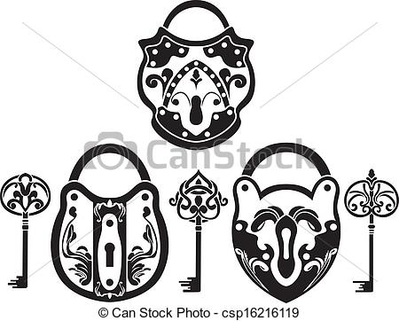 Lock clipart fancy Of Clip stencil set key