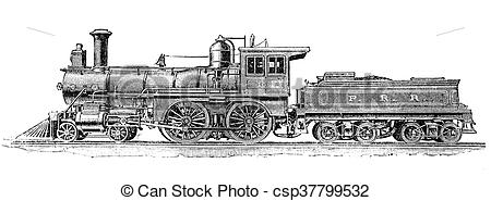 Locomotive clipart 19th century Passengers for steam steam with
