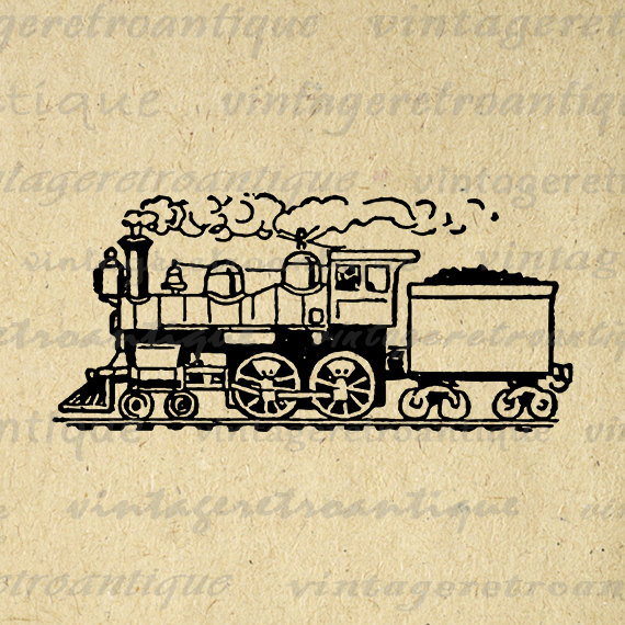 Locomotive clipart kereta api Digital Train 3000 Vintage Eps