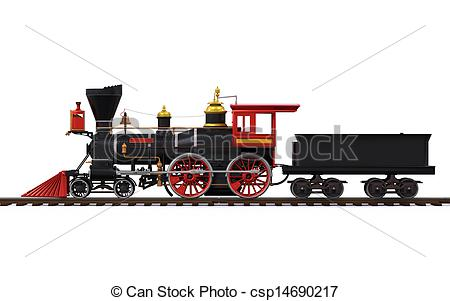 Railways clipart old train Old isolated on Old white