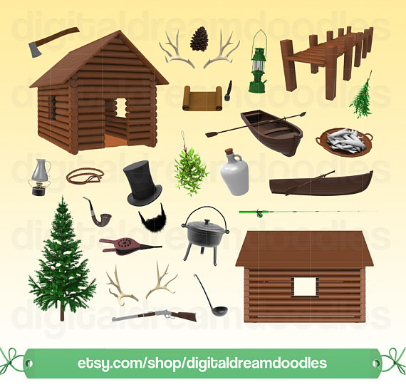 Cabin clipart old house  Art Antler Scrapbook Digital