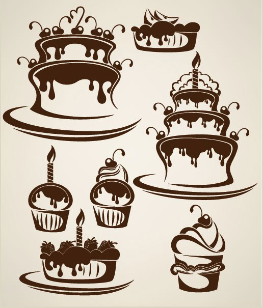 Logo clipart cake Cake vector cartoon Silhouettes Silhouettes