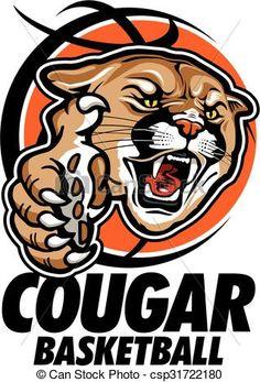 Logo clipart cougar Head Clip Vector Graphic stock