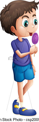 Lollipop clipart boy Vector young of of eating