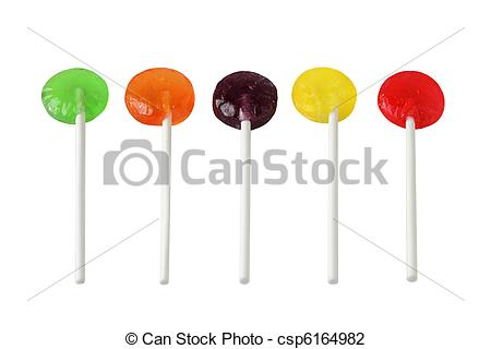 Lollipop clipart five White five candies Stock Set