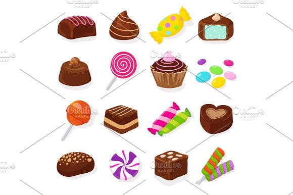 Lollipop clipart sweet chocolate Cartoon and black candies set