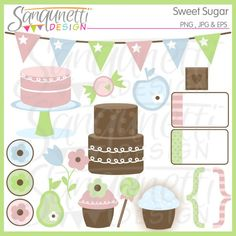 Lollipop clipart sweet chocolate Flower candy pennant bold circles