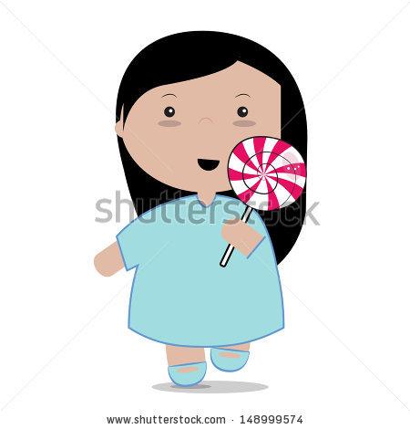 Lollipop clipart woman Girl a in blue dress
