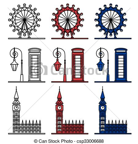Drawn big ben telephone booth Vector London Phone Big csp33006688
